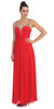 Starbox USA L6093 V-Neck Beaded Straps Ruched Red Empire Waist Evening Gown