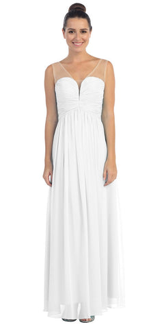 b38bfda567 Starbox USA L6094 Sheer Straps Ruched Bodice Off White Empire Waist Bridesmaids  Dress
