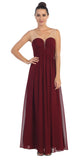 Starbox USA L6094 Sheer Straps Ruched Bodice Burgundy Empire Waist Bridesmaids Dress