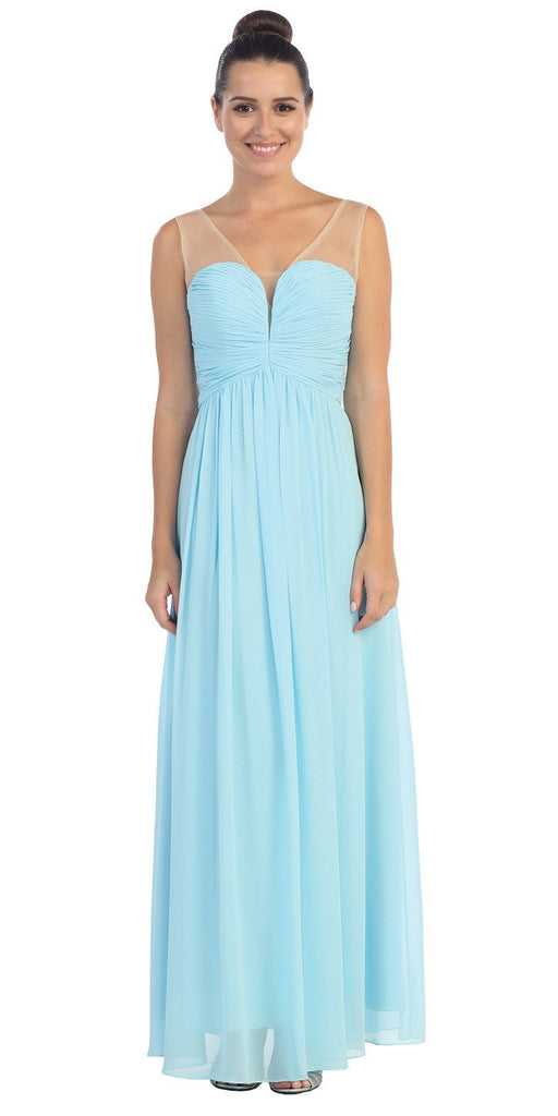 Starbox USA L6094 Sheer Straps Ruched Bodice Light Blue Empire Waist Bridesmaids Dress