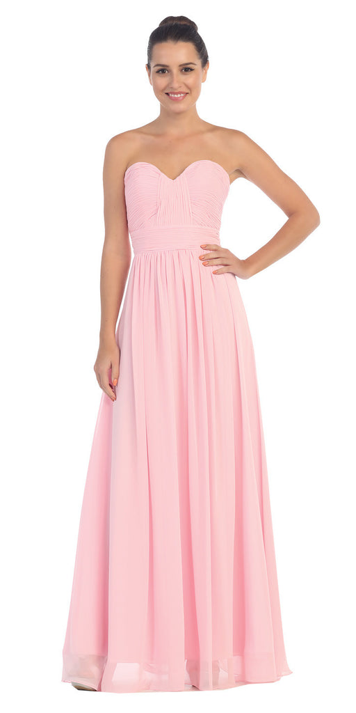 Starbox USA L6095 Ruched Bodice Strapless Chiffon Pink A-line Long Bridesmaids Dress