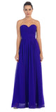 Starbox USA L6095 Ruched Bodice Strapless Chiffon Royal Blue A-line Long Bridesmaids Dress