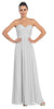 Starbox USA L6095 Ruched Bodice Strapless Chiffon Silver A-line Long Bridesmaids Dress