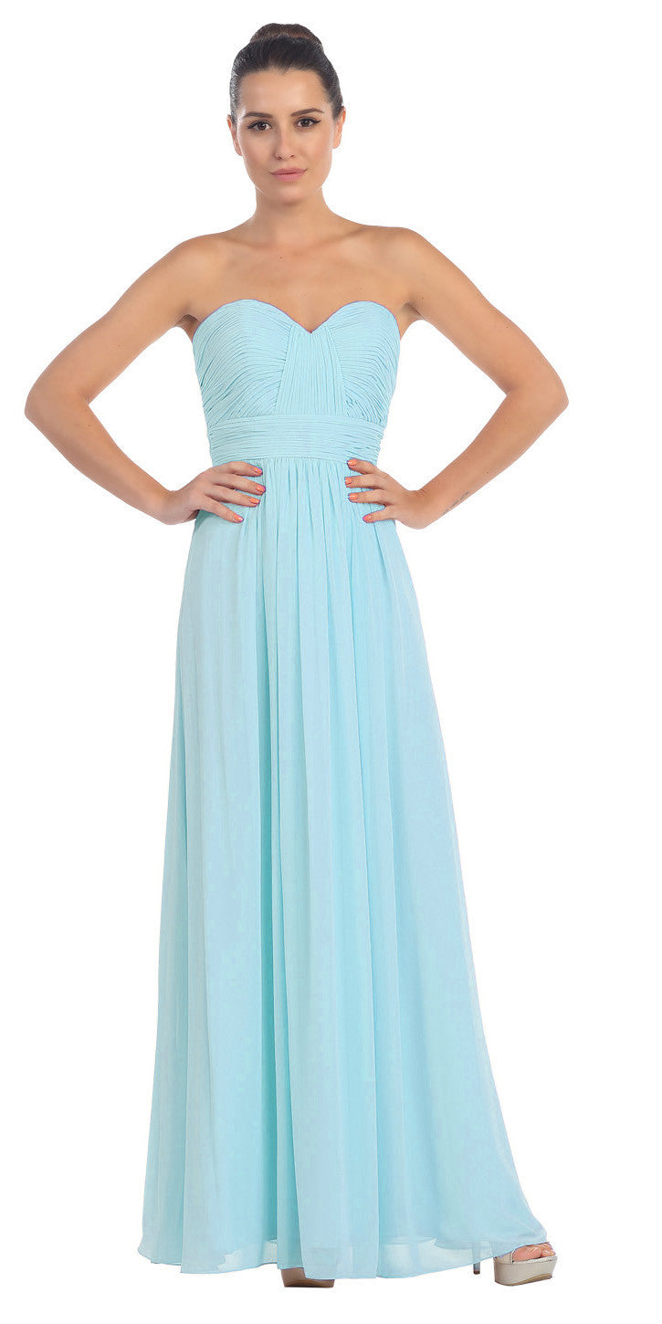 Starbox USA L6095 Ruched Bodice Strapless Chiffon Tiffany Blue A-line Long Bridesmaids Dress