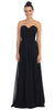 Starbox USA L6095 Ruched Bodice Strapless Chiffon Black A-line Long Bridesmaids Dress