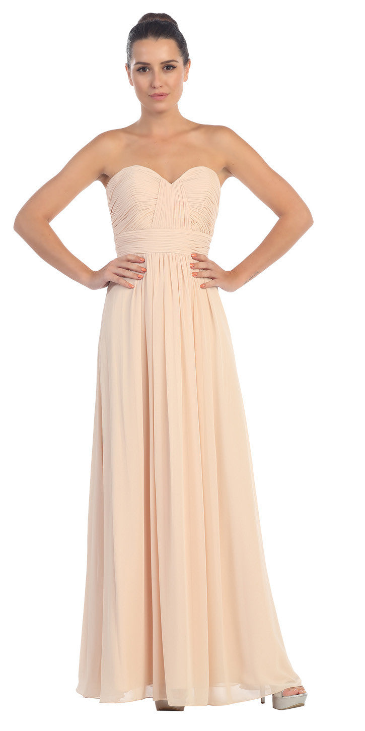 Starbox usa l6095 ruched bodice strapless chiffon pink a line long starbox usa l6095 ruched bodice strapless chiffon champagne a line long bridesmaids dress ombrellifo Gallery