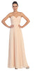 Starbox USA L6095 Ruched Bodice Strapless Chiffon Champagne A-line Long Bridesmaids Dress