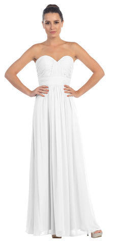 Starbox USA L6095 Ruched Bodice Strapless Chiffon Off White A-line Long Bridesmaids Dress