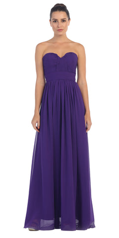 Starbox USA L6095 Ruched Bodice Strapless Chiffon Purple A-line Long Bridesmaids Dress