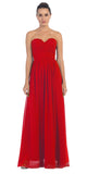 Starbox USA L6095 Ruched Bodice Strapless Chiffon Red A-line Long Bridesmaids Dress