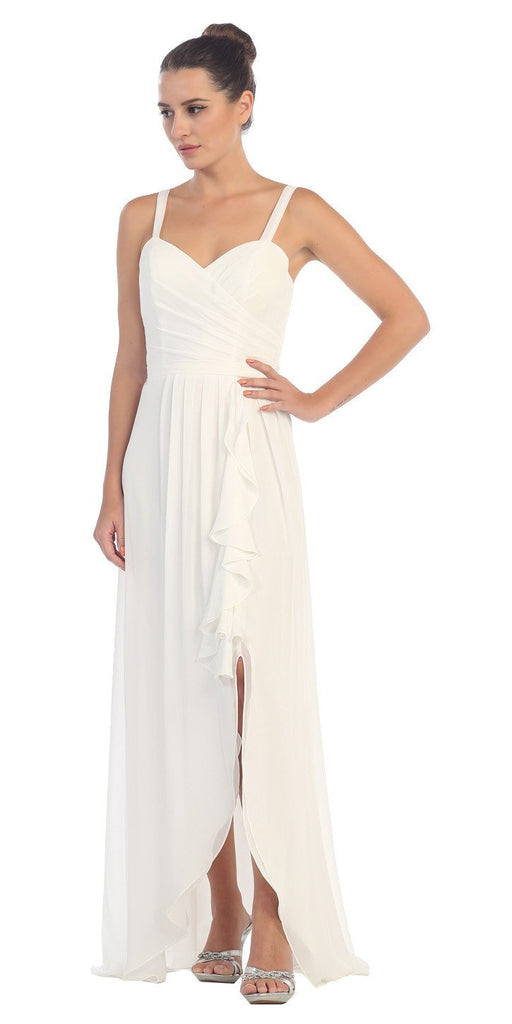 Starbox USA L6096 Knee-high Slit Waterfall Off White Beach Wedding Thin Strap Dress