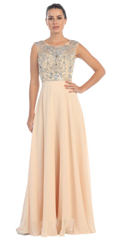 Starbox USA L6111 Cap Sleeves V-shape Back Beaded Bodice Champagne Chiffon Prom Gown