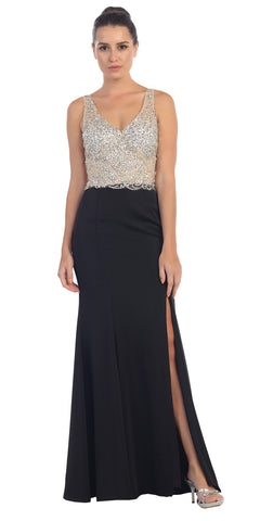 Starbox USA L6113 Sheath V-neck Rhinestone Bodice Sexy Black Prom Dress