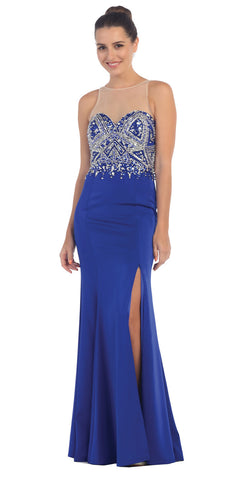 Starbox USA L6115 Illusion Studded Sweetheart Bodice Royal Blue Sheath Prom Dress