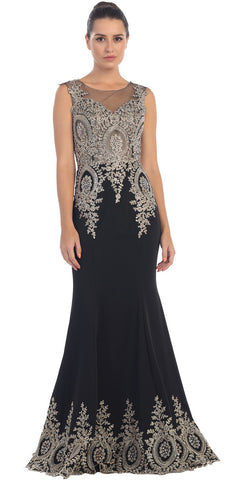 Starbox USA L6128 Bateau Neck Black Fit and Flare Embroidered Floor Length Prom Gown