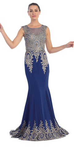 Starbox USA L6128 Bateau Neck Navy Blue Fit and Flare Embroidered Floor Length Prom Gown