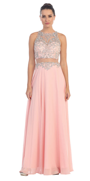 Starbox USA L6136 Blush Sleeveless Illusion High Neck Chiffon A-line Prom Dress Beaded