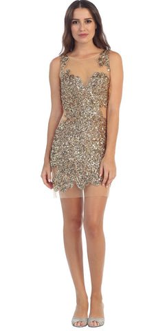 Starbox USA S6067 Sleeveless Gold Sequins Encrusted Short Mesh Party Dress