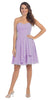 Starbox USA S6074 Sweetheart Pleated Bust Drape Skirt Lilac Above-Knee Dress Strapless