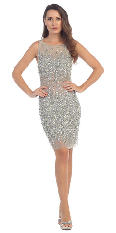 Starbox USA S6075 Bateau Neck Crystals Encrusted Body Con Silver Party Dress Sleeveless