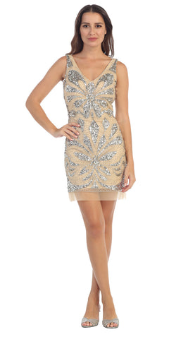 Starbox USA S6076 Champagne Plunging Neck Body Con Mesh Embellished Sexy Dress