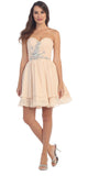 Starbox USA S6085 Strapless Ruched Beaded Bust Chiffon Champagne Short Prom Dress