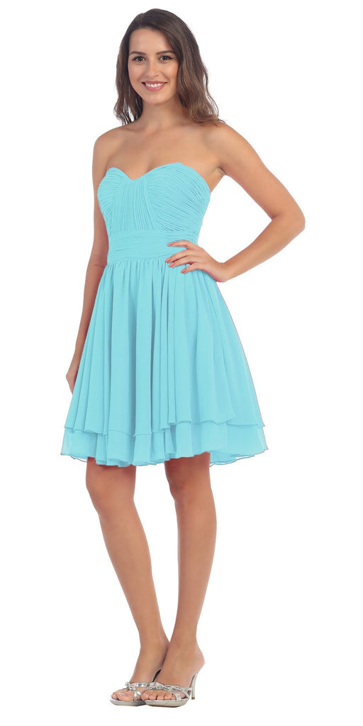 Starbox USA S6097 Sweetheart Neck Layered Hem Ruched Bodice Tiffany Blue Short Bridesmaids Dress