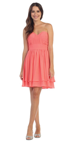Starbox USA S6097 Sweetheart Neck Layered Hem Ruched Bodice Coral Short Bridesmaids Dress