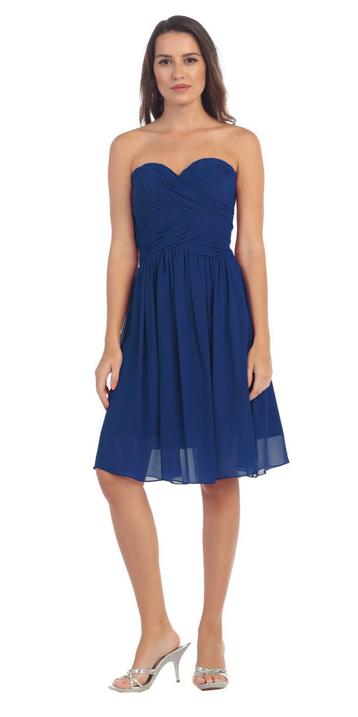 Starbox USA S6127 Sweetheart Neck Ruched Bodice Chiffon Navy Blue Knee Length Bridesmaids Dress