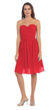 Starbox USA S6127 Sweetheart Neck Ruched Bodice Chiffon Red Knee Length Bridesmaids Dress