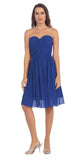 Starbox USA S6127 Sweetheart Neck Ruched Bodice Chiffon Royal Blue Knee Length Bridesmaids Dress