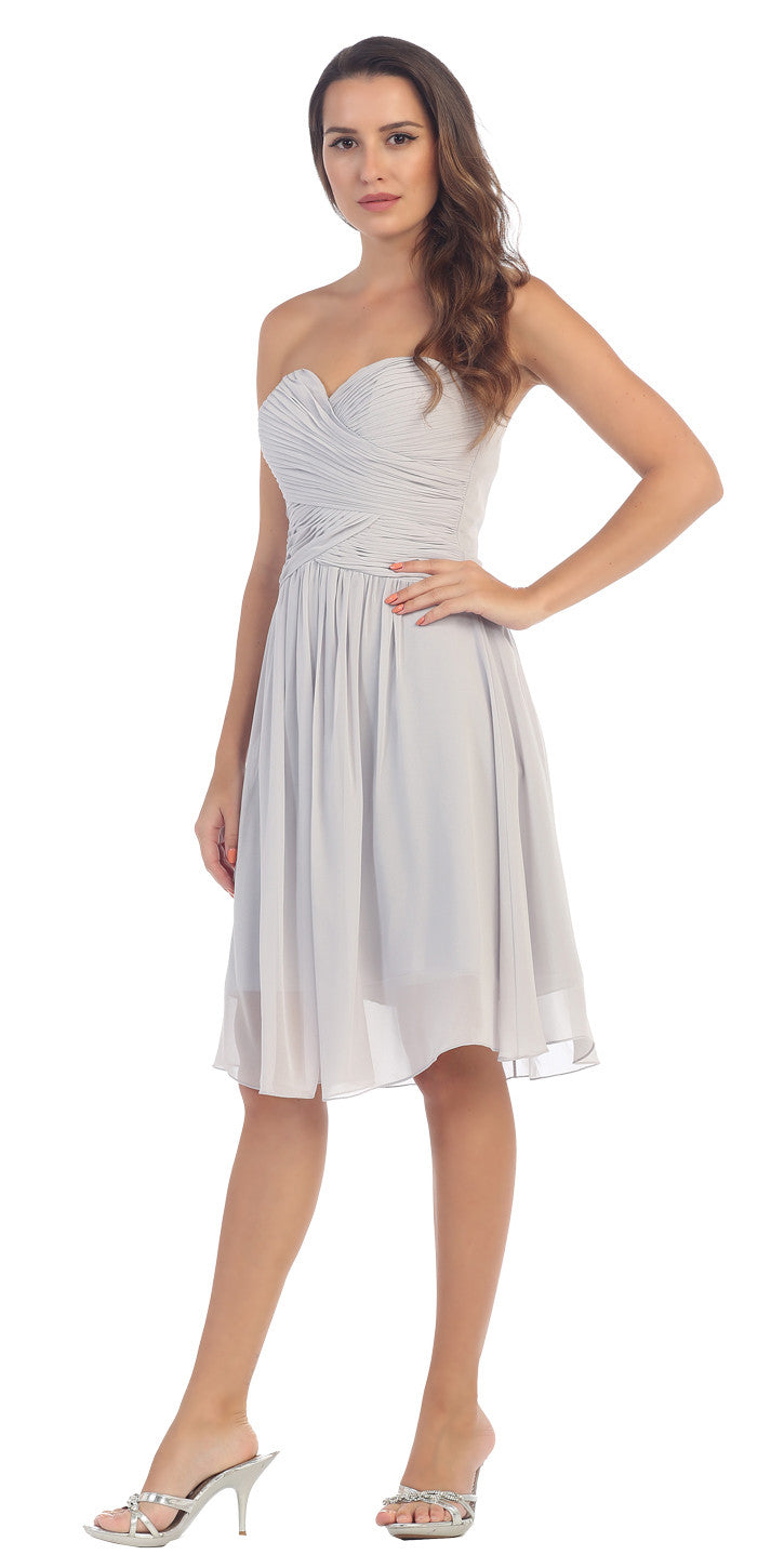 Starbox USA S6127 Sweetheart Neck Ruched Bodice Chiffon Silver Knee Length Bridesmaids Dress