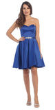 Starbox USA S6129 Strapless Satin A-Line Embellished Royal Blue Above Knee Homecoming Dress