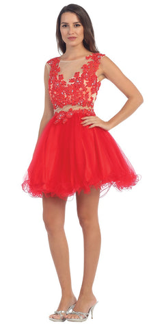 Starbox USA S6131-1 Illusion Beaded Applique Bodice Red Tulle Skirt Prom Dress Short