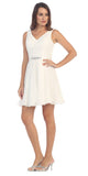 Starbox USA S6149 Sleeveless Lace Bodice V-Neck Off White Chiffon Skirt Damas Dress Short