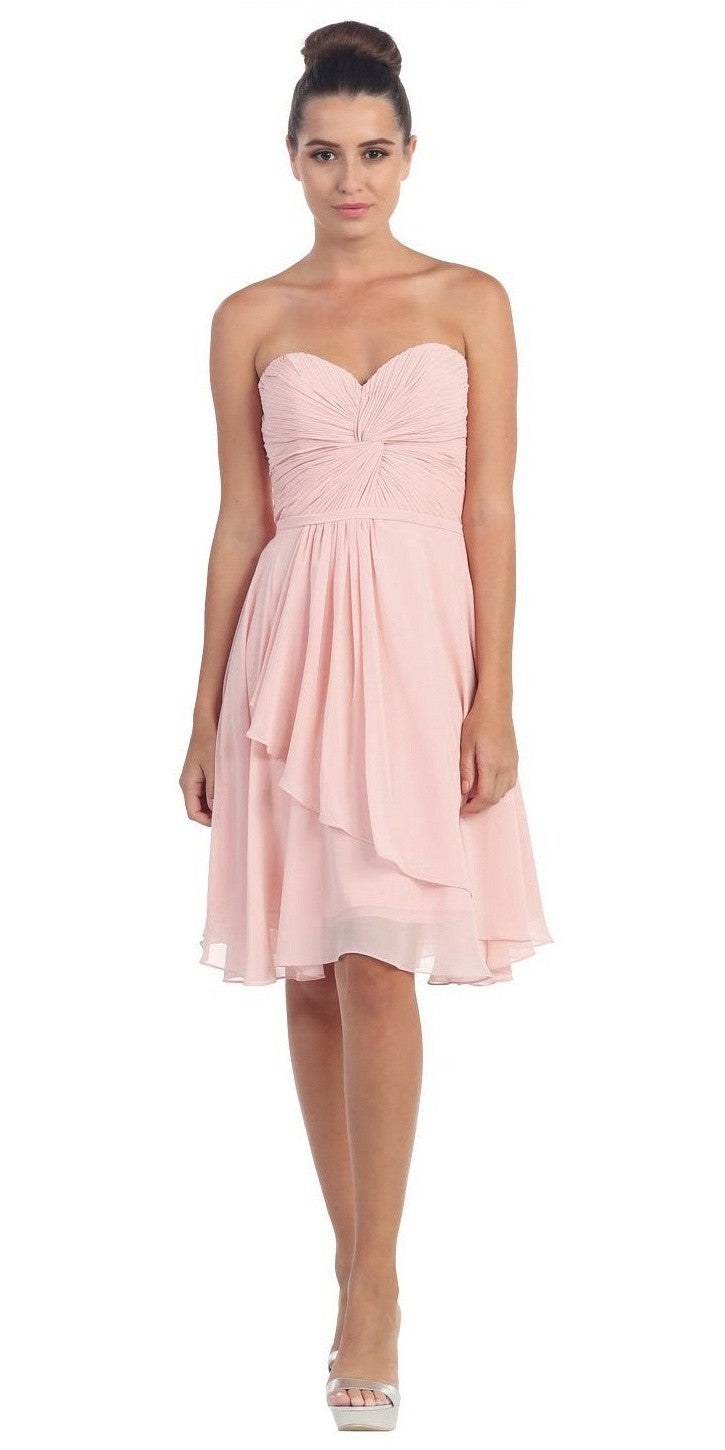 Strapless Destination Wedding Chiffon Bridesmaid Dress Light Pink Short