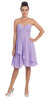 Strapless Destination Wedding Chiffon Bridesmaid Dress Lilac Short