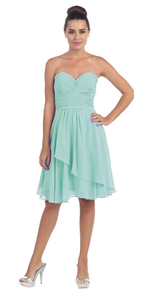 Strapless Destination Wedding Chiffon Bridesmaid Dress Mint Short