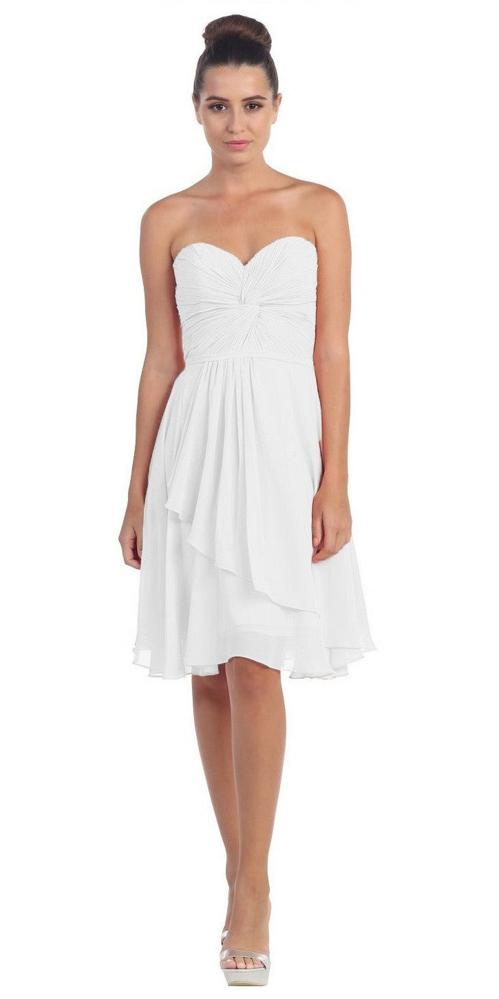 Strapless Destination Wedding Chiffon Bridesmaid Dress Off White Short