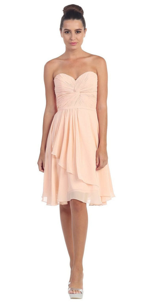 Strapless Destination Wedding Chiffon Bridesmaid Dress Peach Short