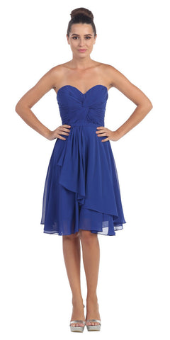 Strapless Destination Wedding Chiffon Bridesmaid Dress Royal Blue Short