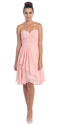 Strapless Destination Wedding Chiffon Bridesmaid Dress Blush Short