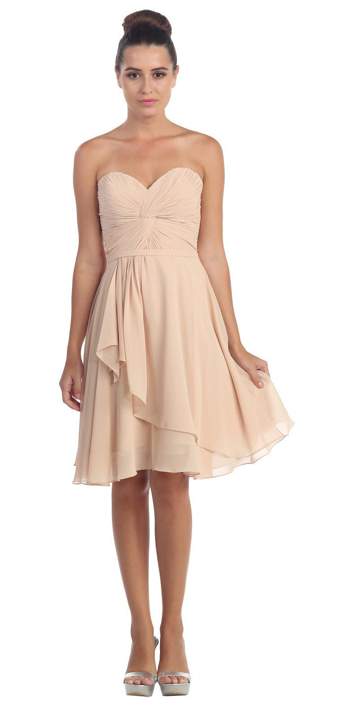 Strapless Destination Wedding Chiffon Bridesmaid Dress Champagne Short