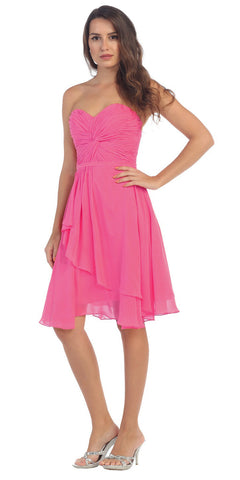 Strapless Destination Wedding Chiffon Bridesmaid Dress Fuchsia Short