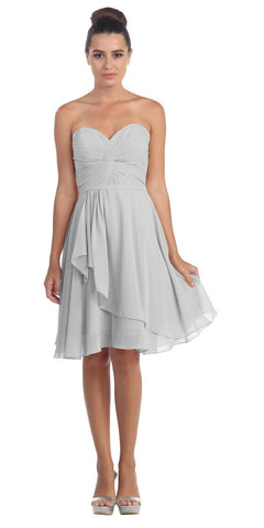 Strapless Destination Wedding Chiffon Bridesmaid Dress Silver Short