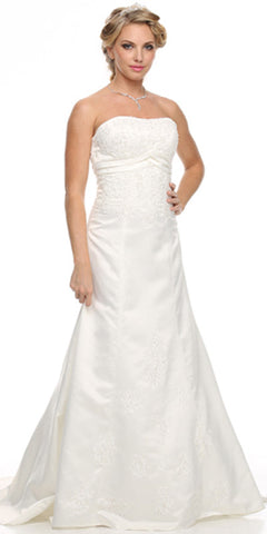 Strapless Ivory Wedding Dress Beaded Bodice Waist Includes Train