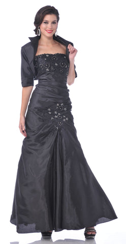 Strapless Mother of Bride Black Dress Includes Bolero Jacket