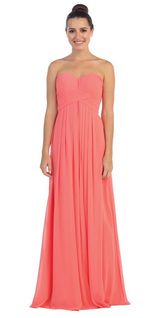 Strapless Ruched Bodice Coral Long A Line Semi Formal Dress