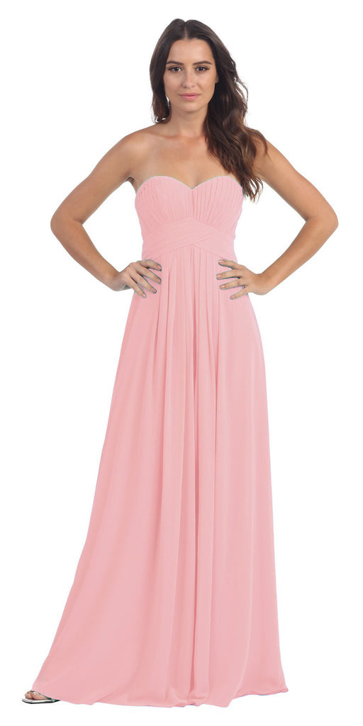 Strapless Ruched Bodice Dusty Rose Long A Line Semi Formal Dress