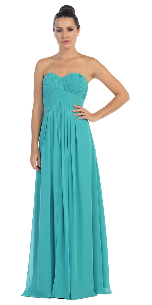 Strapless Ruched Bodice Jade Long A Line Semi Formal Dress